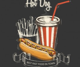 Fast food hot dog black menu cover vector
