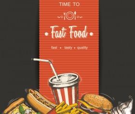 Fast food poster vectors template material 01