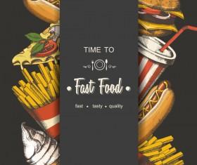 Fast food poster vectors template material 02