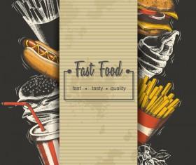 Fast food poster vectors template material 03