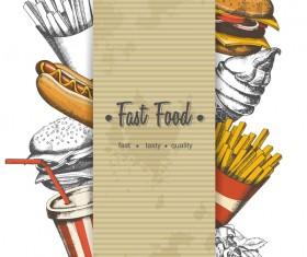 Fast food poster vectors template material 04