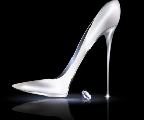 Female shoes with diamond ring vectors 01