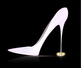 Female shoes with diamond ring vectors 02