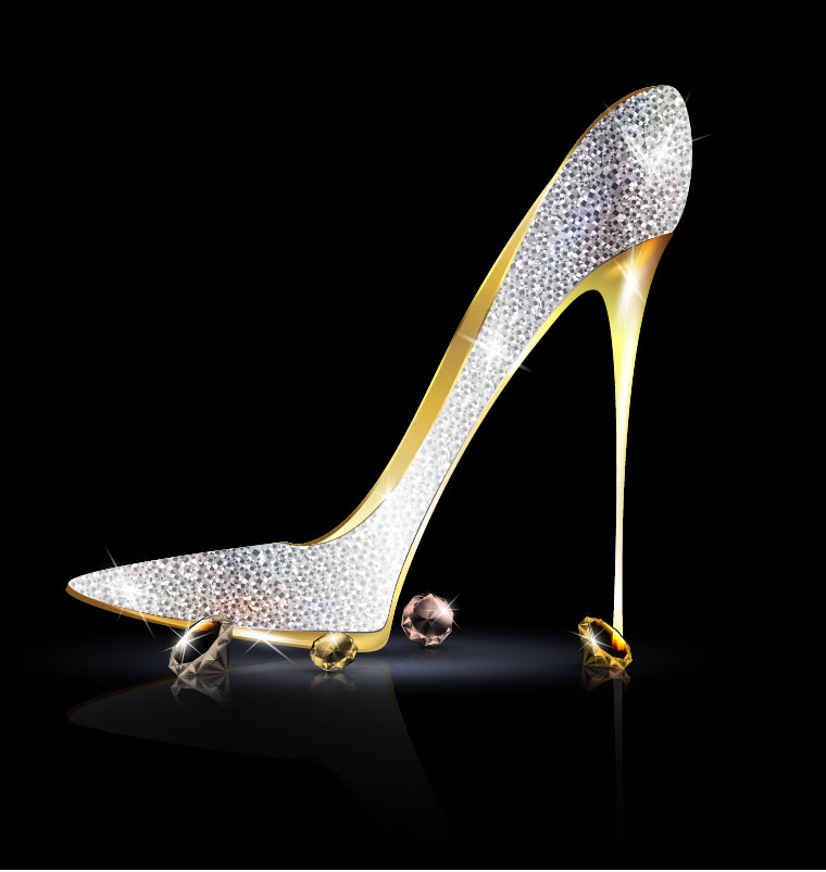 Female shoes with diamond ring vectors 05