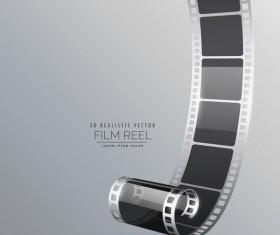 Film reel 3D realistic vector background 01
