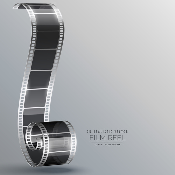 Film Reel 3d Realistic Vector Background 03 Free Download