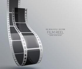 Film reel 3D realistic vector background 04