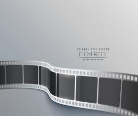 Film reel 3D realistic vector background 05