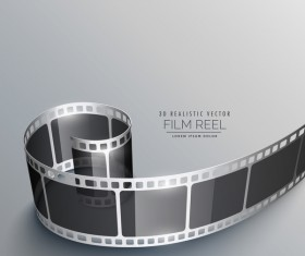 Film reel 3D realistic vector background 06