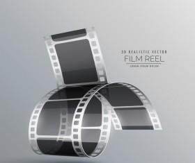 Film reel 3D realistic vector background 07