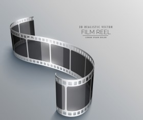 Film reel 3D realistic vector background 08