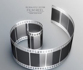 Film reel 3D realistic vector background 10