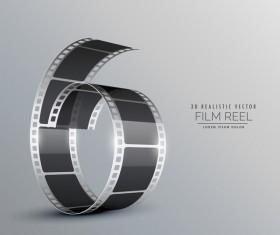 Film reel 3D realistic vector background 11