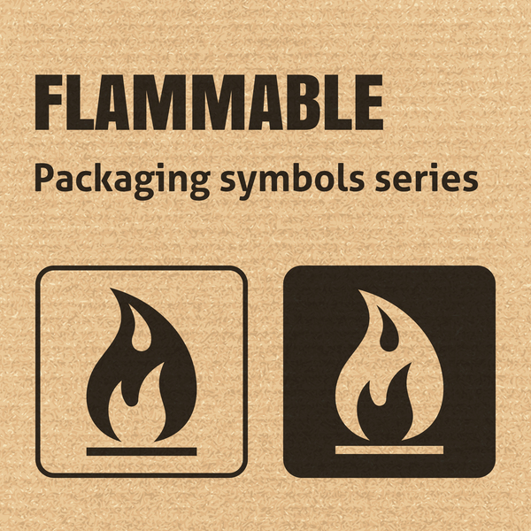 Flammable packaging icons series vector