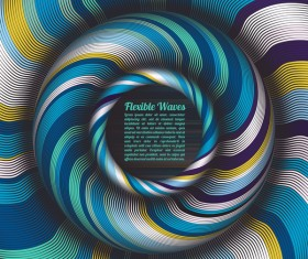 Flexible waves cricles abstract background vector 08