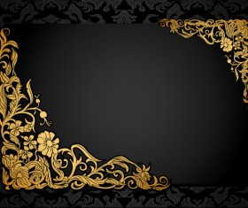 Florish antique vintage frame black horizontal vector