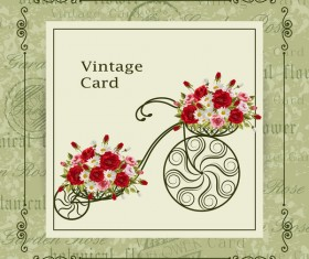Flower bicycle with vintage card vectors 01