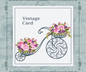 Flower bicycle with vintage card vectors 02