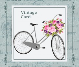 Flower bicycle with vintage card vectors 03
