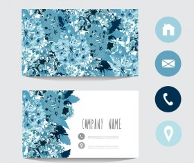 Flower business card template with society icons vector 01