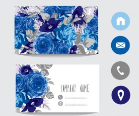 Flower business card template with society icons vector 02