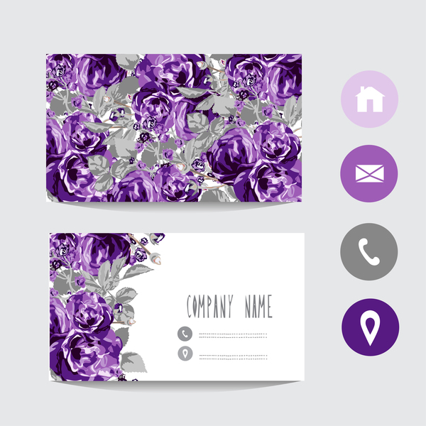 Flower business card template with society icons vector 03