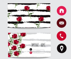 Flower business card template with society icons vector 04