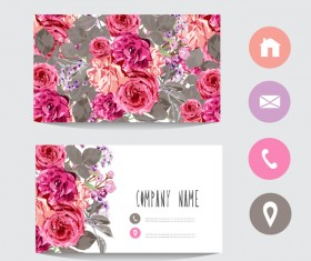 Flower business card template with society icons vector 05