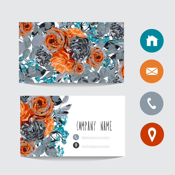 Flower business card template with society icons vector 06