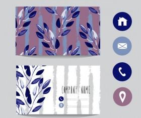 Flower business card template with society icons vector 07