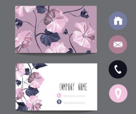 Flower business card template with society icons vector 08