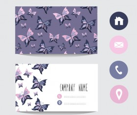 Flower business card template with society icons vector 09
