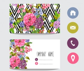 Flower business card template with society icons vector 10