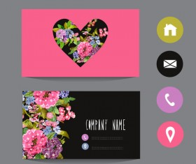 Flower business card template with society icons vector 11