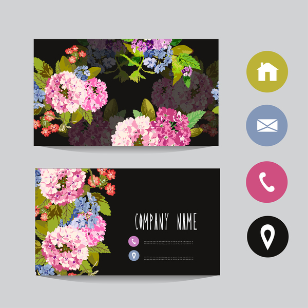 Flower Business Card Template With Society Icons Vector 12