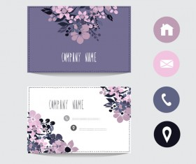 Flower business card template with society icons vector 13