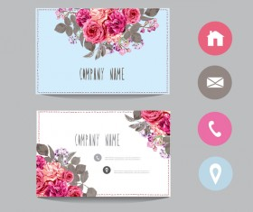 Flower business card template with society icons vector 14