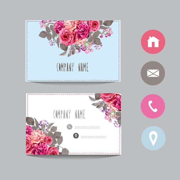 Flower business card template with society icons vector 14 for Flower business cards