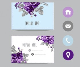 Flower business card template with society icons vector 15
