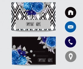 Flower business card template with society icons vector 16