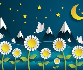 Flower with night time cartoon template vector