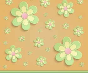 Flowers Spring paper 3D orange green vector