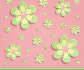 Flowers Spring paper 3D pink green vector