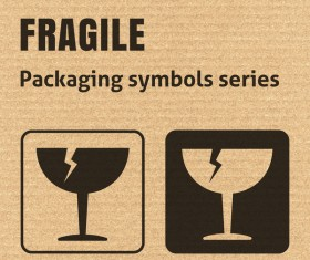 Fragile packaging icons series vector