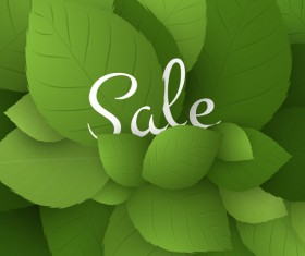 Fresh green leaves with sale background vector