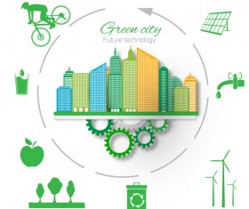 Future technology with green city vector