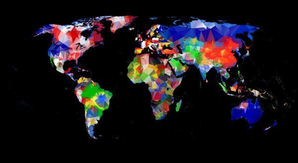 geometric design world map vector template
