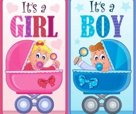 Girl with boy baby card vector