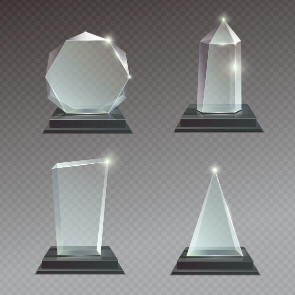 glass awards template vectors 02