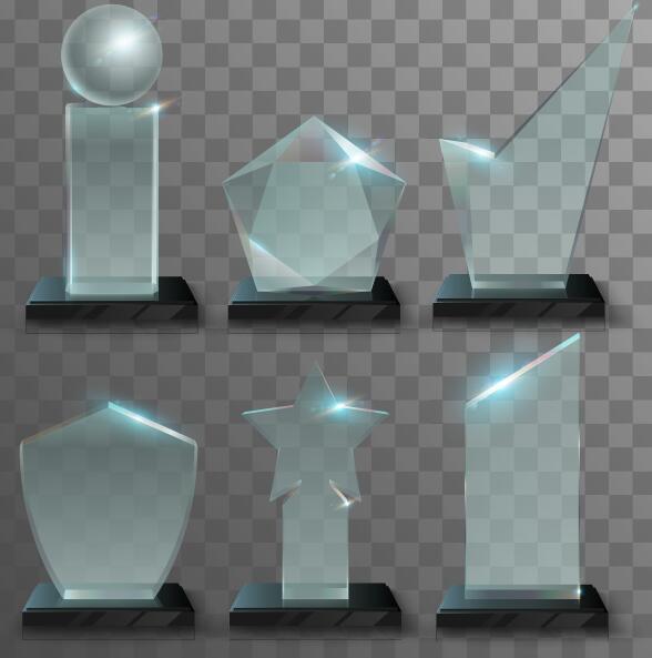 Glass awards template vectors 03